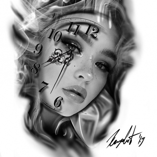 Girl face in smoke with a clock